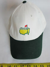 Masters Augusta White Hat Green Bill Cap Leather Adjustable Strapback One Size