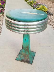 "VTG* MCM* 1950s* Chrome diner stool* spin top* patina* 17.75"" tall* diner*parlor"