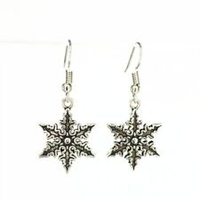 Snowflake Drop Earrings Ladies Silver Colour Fashionable Cute Fashion Christmas