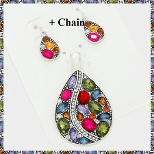 """Multi Color Crystal Teardrop Metal Pendant Earrings Set Necklace With 23"""" Chain"""