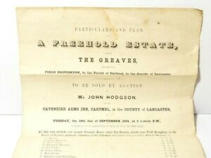 1859 Paper Auction Particulars Freehold Estate The Greaves Cartmel John Hodgson