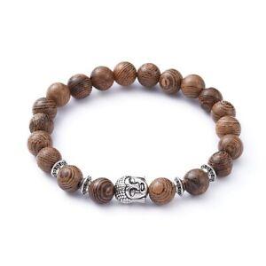 Wooden Beaded Buddha Bracelet Spiritual Meditation Yoga Reiki Free Bag UK Seller