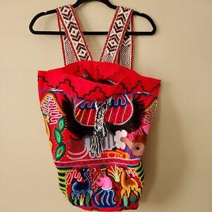 Handmade Handwoven Peruvian Wool Rucksack Backpack.