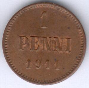 Finnland Nikolaus II. (1894-1917) 1 Penni 1911 (Cu.) KM#13, vz zu fast vz/st