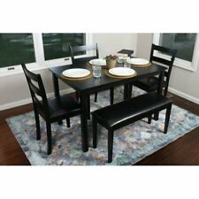 5 Piece Dinning Set Kitchen Furniture Table 3 Chairs Bench Seating Eating Black