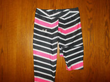 UNDER ARMOUR HEAT GEAR BLACK & PINK STRIPED FITTED CAPRI PANTS WOMENS MEDIUM EXC