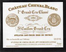 SAINT EMILION 1ER GCC VIEILLE ETIQUETTE CHATEAU CHEVAL BLANC 1992 RARE§23/03/18§