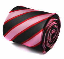 Pink, Red and Black Striped Mens Tie by Frederick Thomas FT718 RRP £19.99