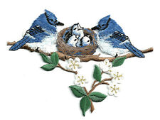 Blue Jay - Birds - Blue Jays W/Nest - Embroidered Iron On Applique Patch