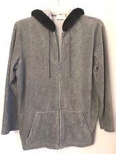 Liz Claiborne Liz Sport Grey Full Zippered XL Hoodie Black faux fir