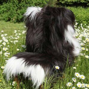 Black Island Lambskin/White Speckled Sheepskin Runner Rug Real Fur