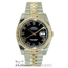 Rolex DateJust 36mm 18K Everose/Steel Jubilee with Black Roman Dial Ref 116231