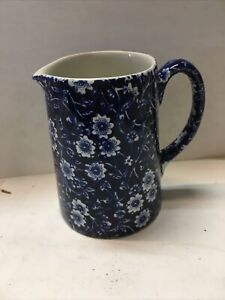 Vintage Burleigh Calico Blue&White Floral Chintz England  Jug S252