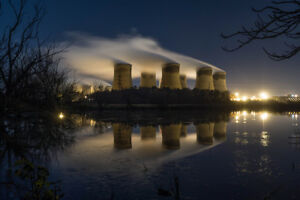 Large Canvas Of Drax Power Station, Cooling Towers, Reflection, Night Art, Print