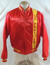 US Marines Large 42-44 Stadium Baseball Jacket Red Gold Satin Vintage