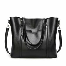 Leather Bag Vintage Women Handbag Shoulder Messenger Purse Satchel Tote Black