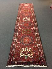"Genuine Hand Knotted Gharajeh Vintage Tribal Geometric Runner Rug 2'8""x12'7"",772"