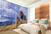 3D Weide Löwe 75 Blockade Foto Vorhang Druckvorhang Vorhänge Stoff Fenster DE
