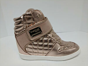 Bebe Cadyna Wedge Boot, Rose Gold, Womens 6 M
