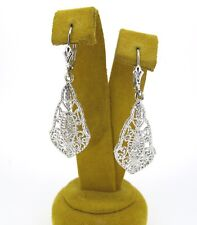 Antique Style Delicate and Lacy 14k White Gold Dangle Lever Back Earrings