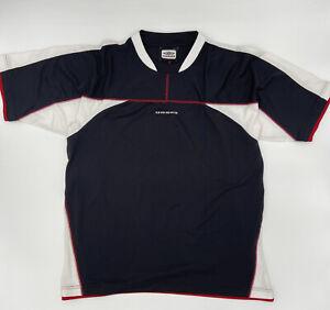 UMBRO Vintage Training Football Tshirt Mesh Black White Logo Red Large XXL