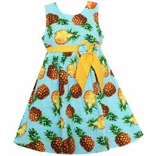Girls Dress Blue Pineapple Print Bow Dresses Party Pageant Kids Clothing SZ 4-14