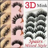 5 Pairs 3D Natural False Eyelashes Long Thick Fake Eye Lashes Makeup Mink Mixed
