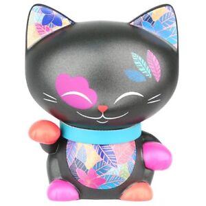 Mani Figurina 7cm Gatto Giapponese Nero Collana Blu Lucky Cat Maneki Neko 623