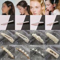 Charm Women Gold White Pearl Hair Clip Snap Barrette Stick Hairpin Accessories