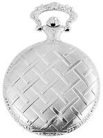 Taschenuhr Weiß Silber Metall Analog Muster Gitter Quarz D-60356114301299