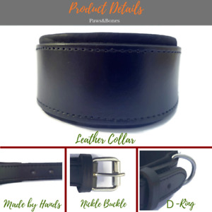 """Leather Dog Collar 3"""" Wide Italian Whippet Pet Collar 13"""" - 18"""" Black / Brown"""