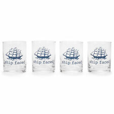 Ship Faced Blue Boat 10 ounce Glass Whiskey Drinking Glass Set 4