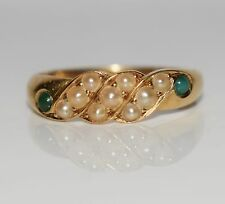 Victorian Turquoise Pearl 18ct Rich Yellow Gold Ring Size N 1/2 ~ US 7