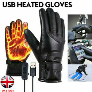 Pair USB Rechargeable Winter Electric Heated Gloves Warmer Outdoor Motor Mittens