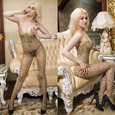 Women Foreplay Sexy Leopard print Open crotch Bodysuit Body Stockings Leotard