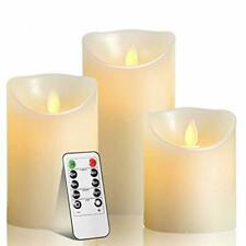 3 Pack Candles Luminara Flameless Led Timer Remote Wax Pillar Ivory Moving Wick