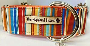 "1.5"" Pumpkin Handmade Martingale Dog Collar Greyhound, Whippet, Lurcher, Saluki"