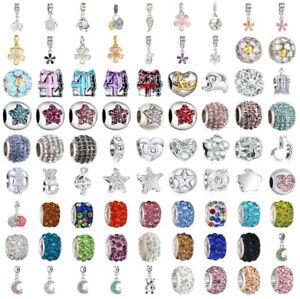 Bracelet Charms European Bangle Rhinestone Beads Pendant Fit 925 Chain Necklace