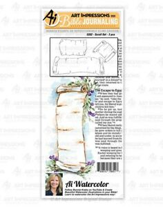 Art Impressions SCROLL SET Stamps Watercolor Bible Journaling Antique Parchment
