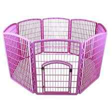 Plastic Pet Pen Playpen Puppy Exercise Dog Kennel Cat Play Portable Pink Cage