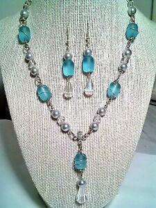 Elegant Sea Glass Jewelry Set, Aqua Blue & Silver Y Necklace w/ Dangle Earrings