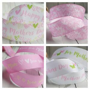 25mm Mothers Day Ribbon, Love You Mum, Birthday, Pink Sage Hearts Mummy Best Mum