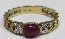 100% Genuine 9k Solid Yellow Gold 0.55cts Cabochan Ruby & Diamond Ring Sz 6.5 US