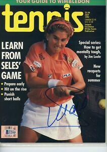 Monica Seles No Label Signed Autographed Tennis Magazine BAS COA
