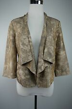 Coldwater Creek NWT 6P  Soft Drape Open Front Printed Short Jacket 3/4 Sleeves