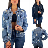 DAMEN JEANSJACKE BLAU VINTAGE KURZ DESTROYED DENIM FRANSEN CUT OUT BLOGGER S-XL