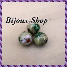 25 Perles métal, peinte a la main 10 mm (olive)