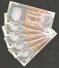 ~ Rs.50/- Bimal Jalan ~ F15 x 5 Serial UNC Notes ~ With Flag Issue ~
