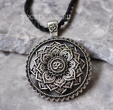 Antique Silver Plt Tibetan Healing Mandala Pendant Necklace Buddha Buddhism OM