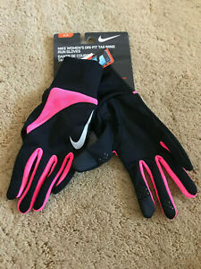 Nike Dry-Fit Tailwind Run Women's Running Gloves NEW Small Black Hot Pink